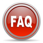 faq red glossy icon on white background