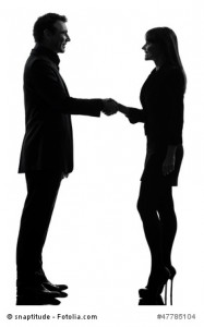 business couple woman man handshake silhouette